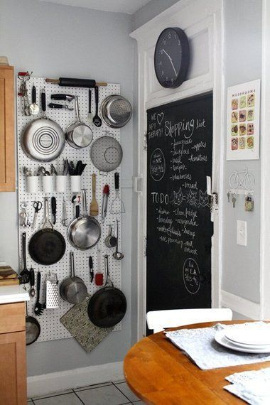 DIY Idea for Small Kitchens - Pegboard Wall Pots and Pans ...