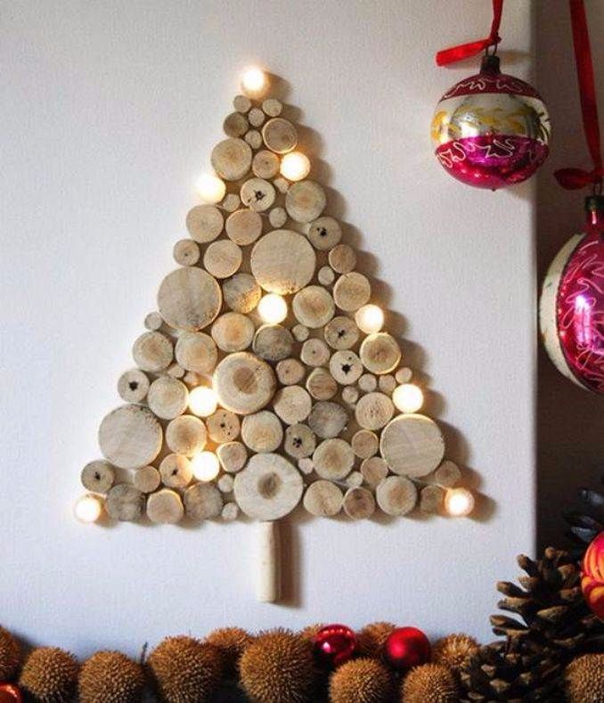 DIY wall Christmas tree with lights - made out of wood! Love the rustic charm!