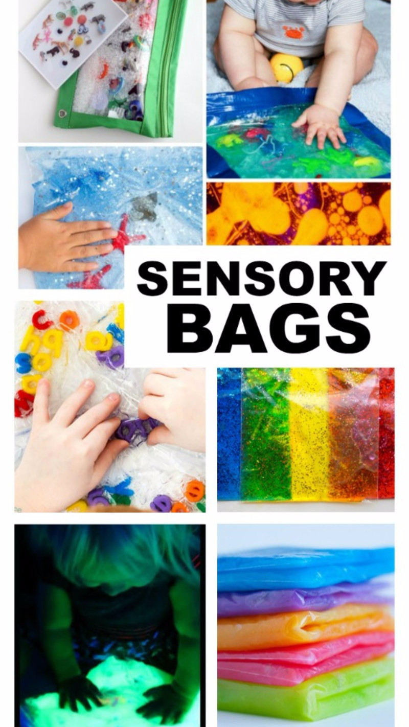 DIY toddler sensory toys idea - sensory bag!  Fill em up and they're tons of sensory fun for your toddler or baby.