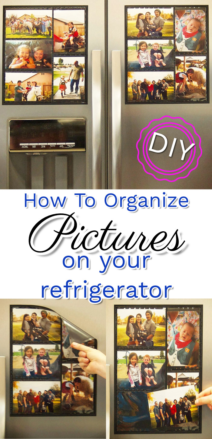 GENIUS way to organize ALL those pictures on my refrigerator! I love to decorate my refrigerator with photos but I want to declutter that mess and get it organized and neat looking. Love it!