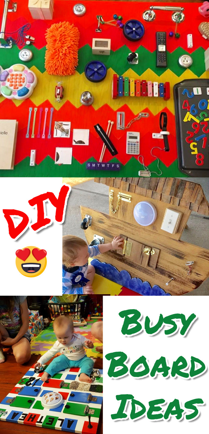 Cute and easy DIY toddler busy boards to make at home.  LOVE all these ideas!