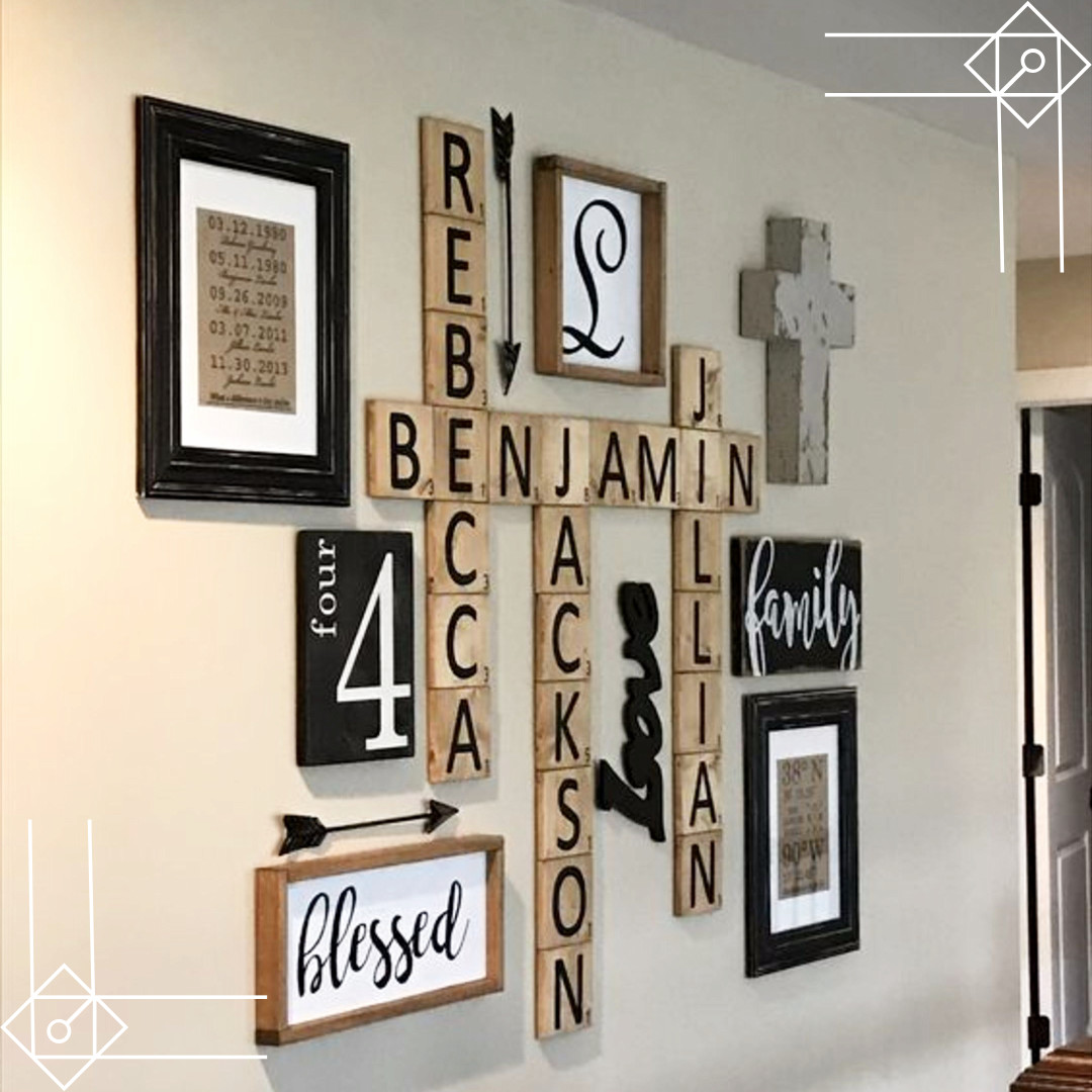 Scrabble wall art DIY idea - would look great in a farmhouse foyer or rustic living room