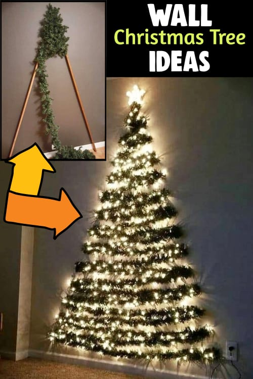 How to make a flat Christmas tree to hang on wall with these flat wall decorated Christmas tree ideas.  DIY flat Christmas tree DIY for a corner wall Christmas tree or a hanging wall Christmas tree for a small room or apartment this Xmas.  Perfect small Christmas tree ideas for small spaces on a budget